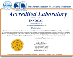 InnoCal Scoe of Accreditation to ISO/IEC 17025:2005 & ANSI/NCSL Z540-1-1994